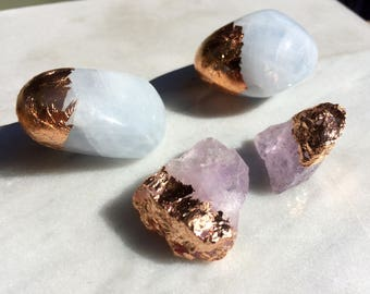 Rose Gold Crystals: Blue Calcite and Amethyst Terrarium Decorations
