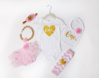 1st Birthday Outfit Pink & Gold Girl One Tutu Bloomers Outfit Cake Smash Shirt Onesie Bodysuit Headband Bib