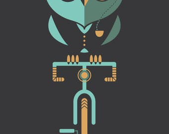 Owl Poster - Bike - Bicycle - Animal - Monocle - Art print- Illustration - Classy owl