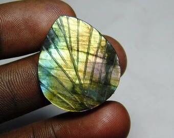 Real -Labradorite Natural   Labradorite   loose carved Leaf  gems  stone handmade  making   pear  shape  cabochon size 22 ct 28x24x3 sr-1076