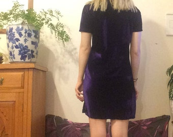 90s Purple velvet T-shirt Body-con Mini Dress