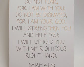 Isaiah 41:10 gold foil Bible verse quote