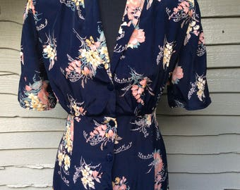 Vintage Eighties doing Vintage Forties ... Floral bouquet Print on a dark Navy Ground UK Size 12 Vintage 80's 1980's