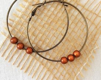 large bronze hoops,simple brown hoops,lovely big hoops,brown earrings,tan earrings,big simple earrings,shiny brown earrings,bronze earrings