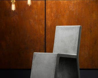 Minimalist concrete effect side chair