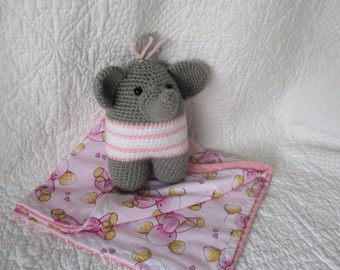 Pink Elephant crib toy with security blanket