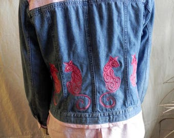 Upcycled Women's Lightweight Denim Jean Jacket Pink Cat Embroidery