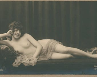 Adorable Reclining Nude | French 1920's Erotica | Quirky Sweet Grin | Pretty Brunette | Swirled Voile Sash | Risqué Antique Postcard |