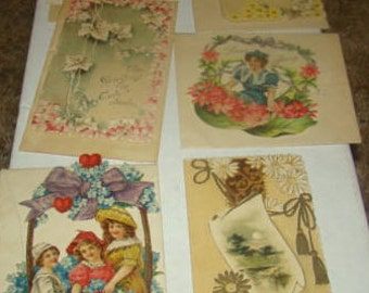6 Vintage Valentines Most With Original Envolopes
