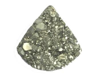 Golden Pyrite Cube Crystal Druzy Raw Top Gemstone Cabochon, Metallic Luster Dazzling Semiprecious Jewel