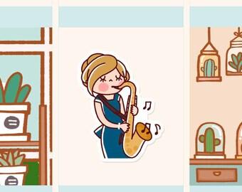 Cute Saxophone Sticker, Cute girl planner sticker, Music Sticker, Kawaii girl sticker, Practice music sticker, Instrument stickers (HF063)