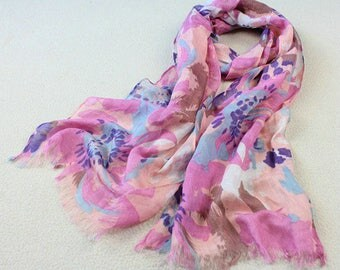 Japanese Linen Thin Long Women Scarves Spring Summer Vintage Gift Watercolor Pink Blush Blue Designer Floral Romantic Fresh