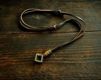 Leather Necklace Men Vintage Leather Necklace Retro Pendent Necklace Leather Necklace For Men Adjustable Necklace