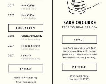 Resume Profile Examples Minimalist Resume  Etsy Construction Foreman Resume with Make A Job Resume Pdf Ivory Coffee Minimalist Resume  Pdf Format Areas Of Expertise Resume Excel