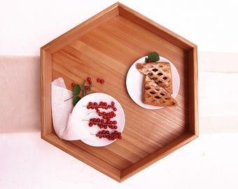 Large Hexagon Tray, Wood Tea Tray, Ottoman Tray, Wooden Serving Tray, Coffee Tray Table Tray with Handles Shabby chic Tray Housewarming Gift