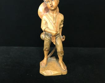 Folk Art Wooden Boy Figurine