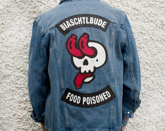 Sausage Skull Customized Denim Jacket Size XL