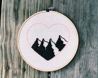Mountain Love Embroidery Hoop Art