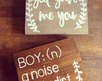 Boy (N:) Noise With Dirt On It Sign | Nursery Decor, Baby Boy, Baby Shower Gift, New Baby, Sons, Rustic Bedroom Decor