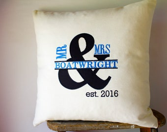 Established Pillows, Established Decor, Couples Pillows, Name Initial Pillows, Personalized Pillows, Custom Name Pillows, Mr and Mrs Pillows