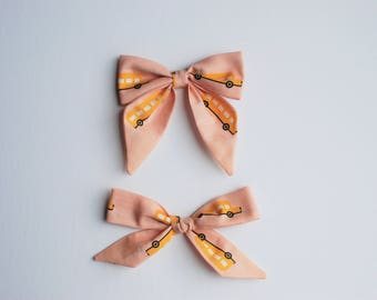Buses - Pink and Yellow Bus Sailor AND Hand Tied Bow