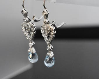 18K White Gold Aquamarine Earrings