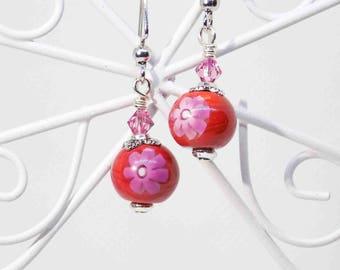 Flower Earrings, Pink and Red Flower Earrings, Bohemian Style Dangles, Petite Dangle Earrings, Handmade Beaded Jewelry, Flower Jewelry, ooak