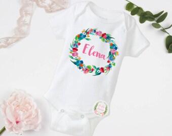 Name wreath, cute bodysuit, baby girl bodysuit, wreath bodysuit, toddler shirt, name toddler shirt, wreath toddler shirt