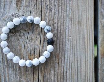 Essential oil diffuser bracelet yoga bracelet mala beads meditation beads yoga beads frosted white howlite lava beads howlite bracelet