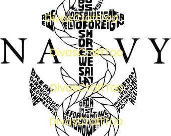 US Navy Word Art SVG