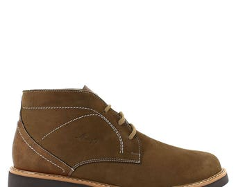 Army's ankle boot in sand with comfort sole top stitching in an ivory midsole.