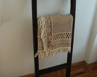 Crochet blanket boho style blanket fringe blanket Crochet afghan lace afghan crochet lace blanket rustic blanket rustic home decor