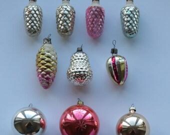 Set of 10 Soviet Vintage Christmas Tree toys,Collectible Vintage Glass Toys, USSR Glass Toys,Xmas Tree Toy,Glass Christmas decorations