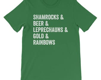 St Patricks Day Shirt Funny Saint Patrick's Day Shirt Shamrocks Beer Leprechauns Gold Rainbows Men's Women's Shirt