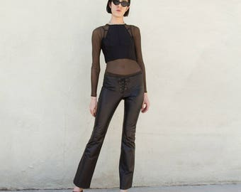 90s Vintage GUESS Leather Low Risr Flare Tie Pants Sz 4