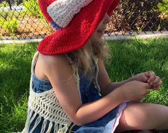 Girls Crochet Fourth of July/Memorial Day/Red, white, and blue Floppy Sunhat with Bow, Baby/Toddler/Kids