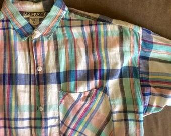 Plaid Button-up Blouse