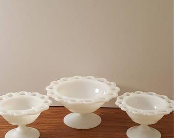 3 Vintage Milk Glass Lace Pattern Pedestal Compote Dishes (c.1950's)