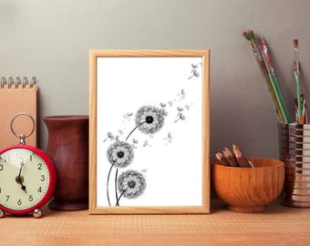 Black and white dandelion poster, Floral Print, Dandelion Print, Dandelion Decor, wall art design dandelion. Free worldwide shipping.