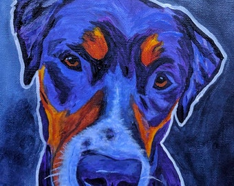 Rottweiler Print, Pet Portrait, Dog Art, Pet Portrait Artist, Colorful Pet Portrait, Lab Art, Art by Jodi Dodd