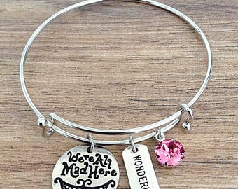 We're All Mad Here Alice In Wonderland Bangle Charm Bracelet With Swarovski Crystal