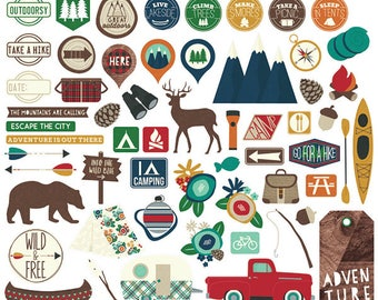Cabin Fever Bits & Pieces from Simple Stories, 58 Cardstock Die-Cuts.