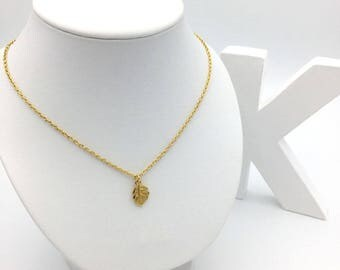 Monstera leaf of gold 24 K necklace