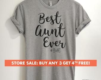 Best Aunt Ever #BAE T-shirt, Ladies Unisex T-shirt, Aunt T-shirt, Gift for Aunt, Short & Long Sleeve T-shirt