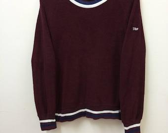Vintage CHRISTIAN DIOR Loungwear//Women's Sweatshirt Fleece Ringer//Women's Size M//Raglan//Dior