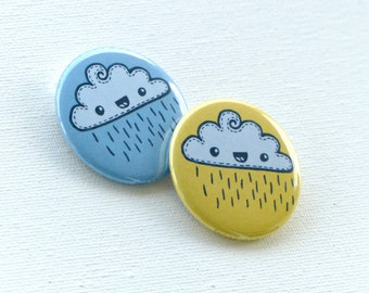 Happy Cloud Button Pins or Magnets