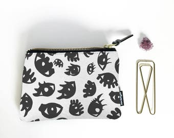 Black and White Coin Purse, Change Purse, Coin Pouch, Zippered Coin Purse, Small Toiletry Bag, Money Purse, Coin Bag, Small Zipper Pouch