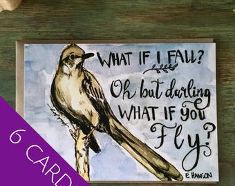 """Set of note cards; Inspirational quote mockingbird; support encouragement stationary 