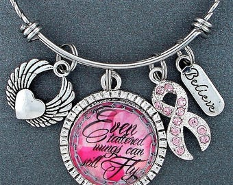Even Tattered Wings Can Still Fly Breast Cancer Awareness Charm Bracelet, Inspirational Quote,  Pink Ribbon, Encouragement Gift, Believe