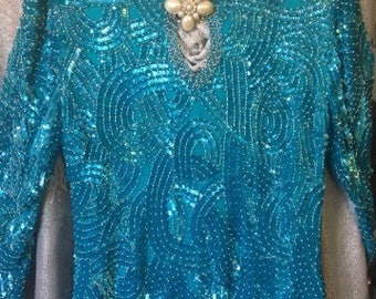 2pc Turquoise Sequined Evening Outfit/Size S/M